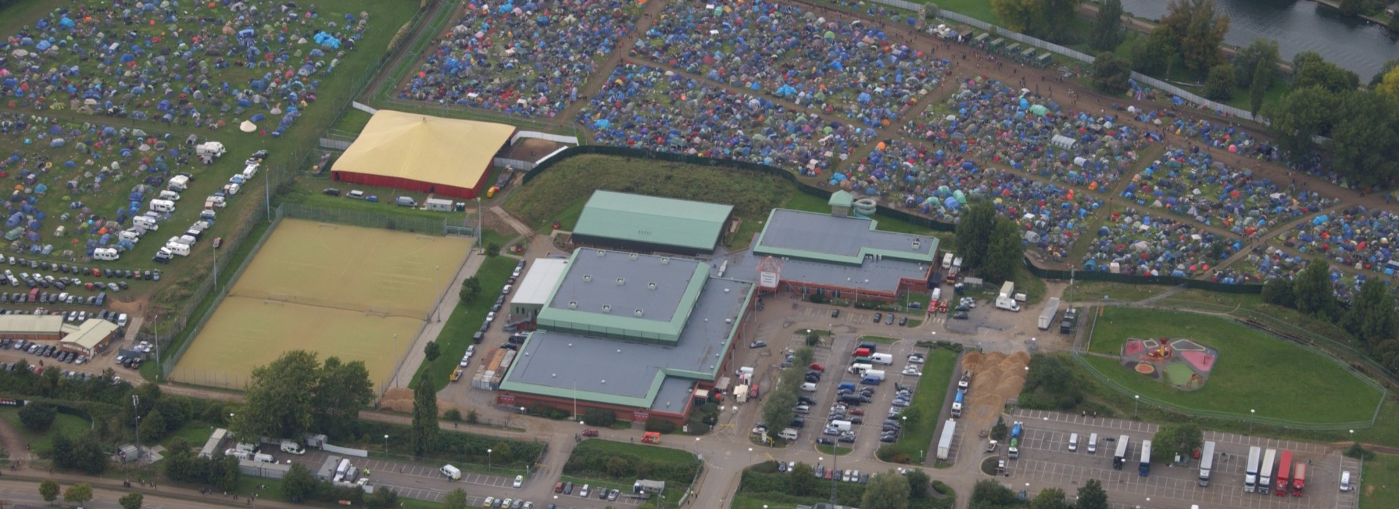 Reading Festival Air Photo, from Rivermead Leisure Complex