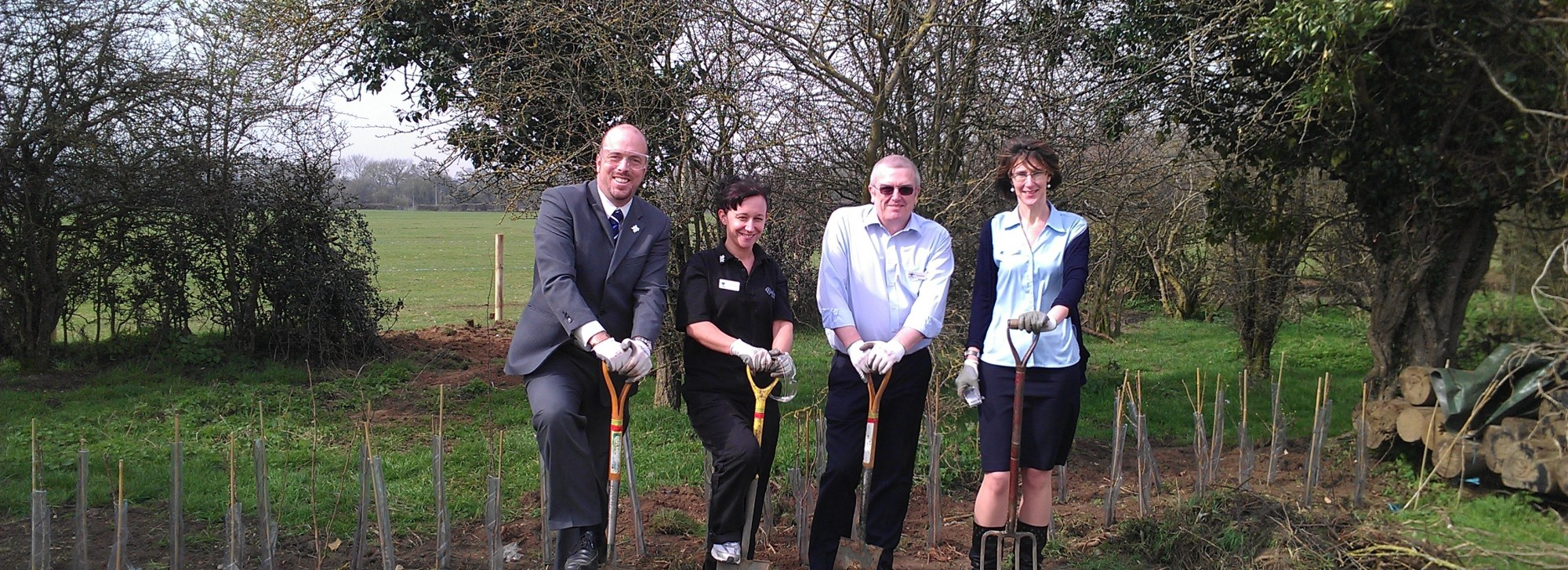 Tree planting in Reading, rivermead leisure complex